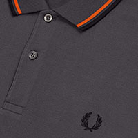 Fred Perry Polo Shirt- Charcoal / International Orange / Black