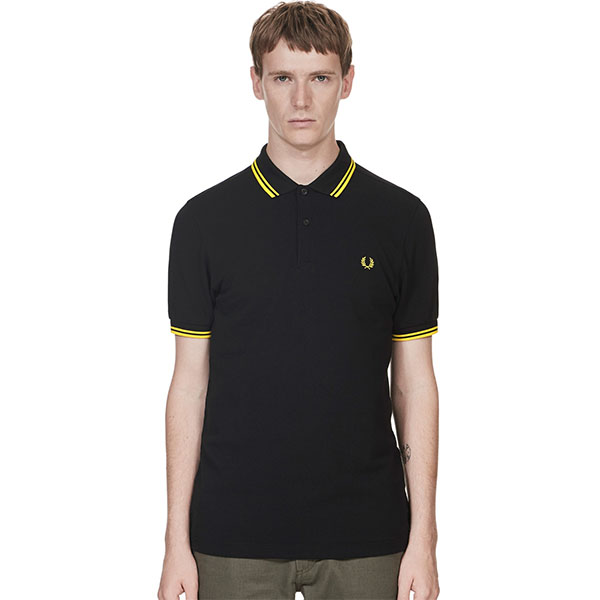 Fred Perry Polo Shirt- Black / Yellow