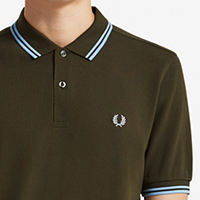 Fred Perry Polo Shirt- Forest Night / Sky Blue