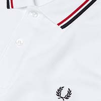 Fred Perry Polo Shirt- White / Bright Red / Navy - SALE XL only
