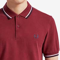 Fred Perry Polo Shirt- Dark Red / White / Carbon Blue