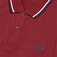 Fred Perry Polo Shirt- Dark Red / White / Carbon Blue (Sale price!)