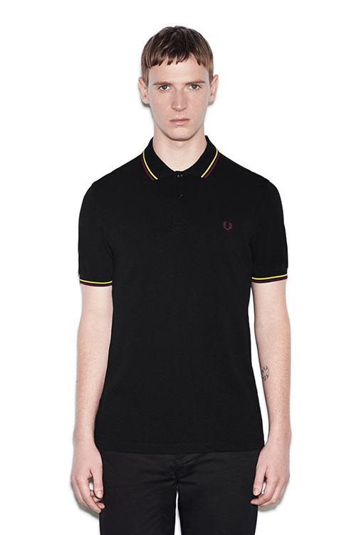 Fred Perry Polo Shirt- Black / Citron / Mahogany