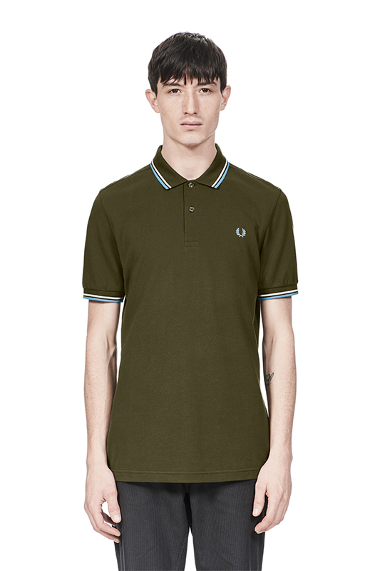 fred perry polo shirt dark fern snow white sky blue. Black Bedroom Furniture Sets. Home Design Ideas