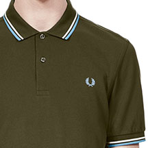 Fred Perry Polo Shirt- Dark Fern/ Snow White/Sky Blue (Sale price!)