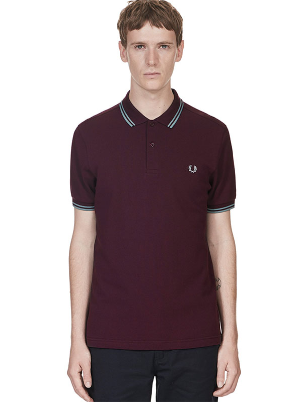 Fred Perry Polo Shirt- Bramble / Silver Blue