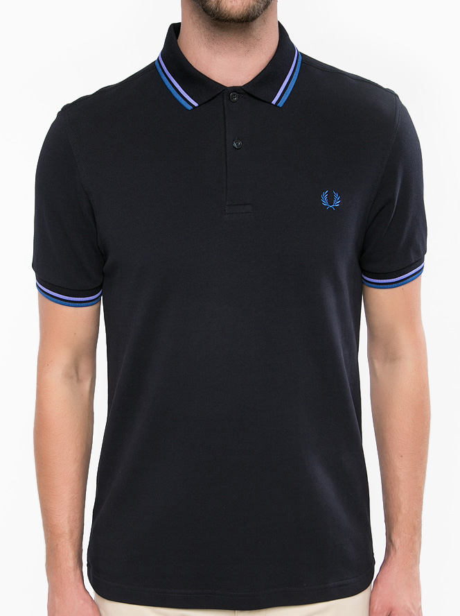 Fred Perry Polo Shirt- Navy / Corn / Lupin