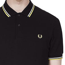 Fred Perry Polo Shirt- Black / White / Soft Yellow