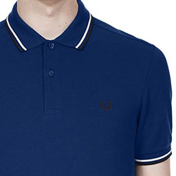 Fred Perry Polo Shirt- Medieval Blue / Snow White / Navy