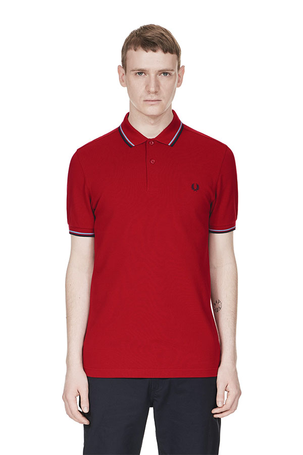 fred perry polo shirt deep red light smoke navy. Black Bedroom Furniture Sets. Home Design Ideas