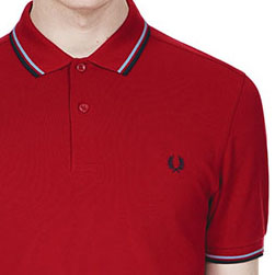 Fred Perry Polo Shirt- Deep Red / Light Smoke / Navy