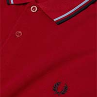 Fred Perry Polo Shirt- Deep Red / Light Smoke / Navy - SALE sz S only