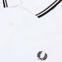 Fred Perry Polo Shirt- White / Iced Slate / Black (Sale price!)