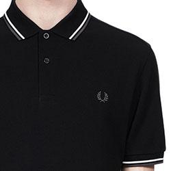 Fred Perry Polo Shirt- Black / White / Iced Slate