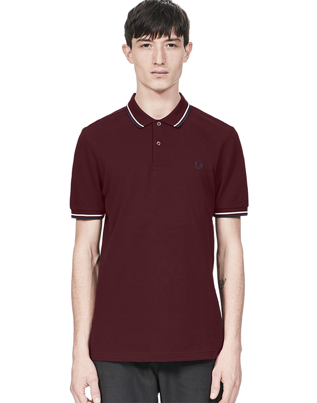 fred perry polo shirt mahogany snow white carbon blue. Black Bedroom Furniture Sets. Home Design Ideas