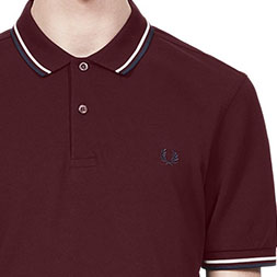 Fred Perry Polo Shirt- Mahogany/Snow White/Carbon Blue