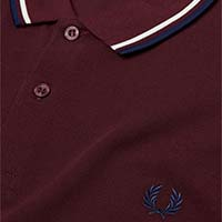 Fred Perry Polo Shirt- Mahogany / Snow White / Carbon Blue (Sale price!)