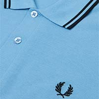 Fred Perry Polo Shirt- Sky Blue/Black - SALE sz M only