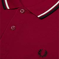 Fred Perry Polo Shirt- Sherry/Snow White/Black - SALE sz M only