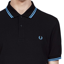Fred Perry Polo Shirt- Black/Sky Blue