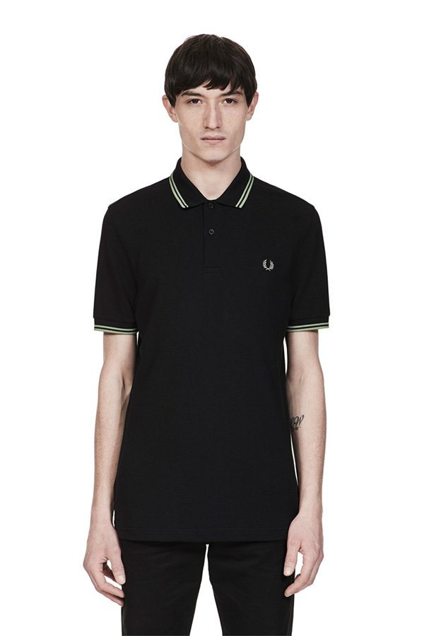 6f1a95433 Fred Perry Polo Shirt- Black   Pale Olive