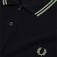Fred Perry Polo Shirt- Black / Pale Olive