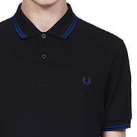 Fred Perry Polo Shirt- Black / Medieval Blue
