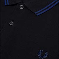 Fred Perry Polo Shirt- Black / Medieval Blue - sz L only