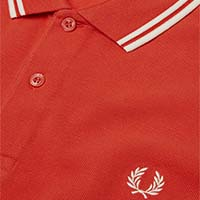 Fred Perry Polo Shirt- Peach Red / Snow White (Sale price!)