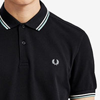 Fred Perry Polo Shirt- Black / Snow White / Mint