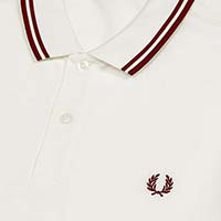 Fred Perry Polo Shirt- Snow White / Maroon