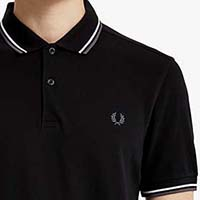 Fred Perry Polo Shirt- Black / White / Iced Slate