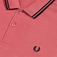 Fred Perry Polo Shirt- Mauvewood / Black - SALE sz XL only