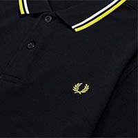 Fred Perry Polo Shirt- Navy / Snow White / Electric Yellow - SALE sz XL only