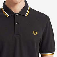 Fred Perry Polo Shirt- Black / White / Sunglow