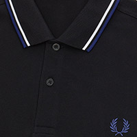 Fred Perry Polo Shirt- Black / White / Medieval Blue
