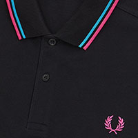 Fred Perry Polo Shirt- Black / Cyan / Magenta