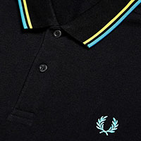 Fred Perry Polo Shirt- Black / Yellow / Cyan