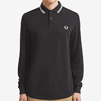 Fred Perry Long Sleeve Polo Shirt- Black / Porcelain - sz L only