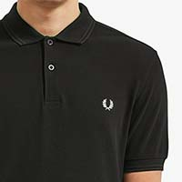 Fred Perry Polo Shirt With Embroidered Laurel Wreath On Back- BLACK