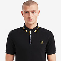 Fred Perry Tipped Placket Polo Shirt- Black (Sale price!)