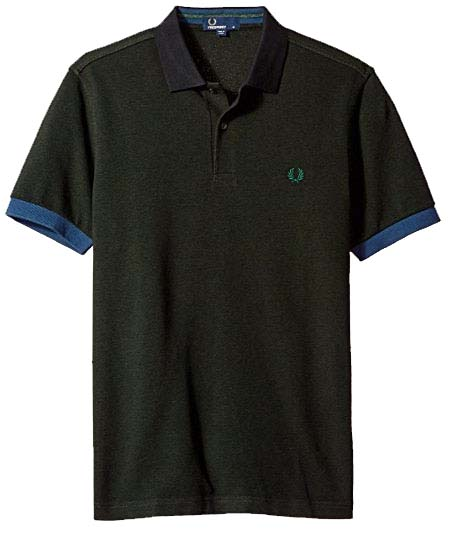 Fred Perry Color Block Pique Polo Shirt- Hunter Green (Sale price!)