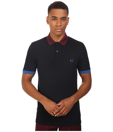 Fred Perry Color Block Pique Polo Shirt- Service Blue (Sale price!)