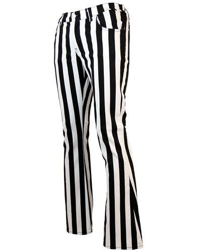 Holly Roller 60's Boot Cut Flare Jeans from Madcap England  - in black & white stripe