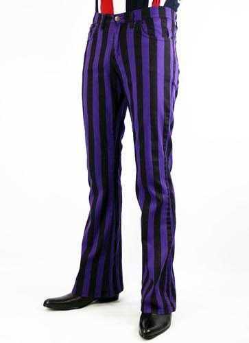Holly Roller 60's Boot Cut Flare Jeans from Madcap England  - in black & purple stripe