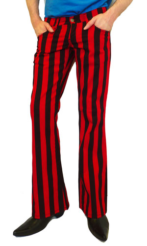 Holly Roller 60's Boot Cut Flare Jeans from Madcap England  - in black & red stripe