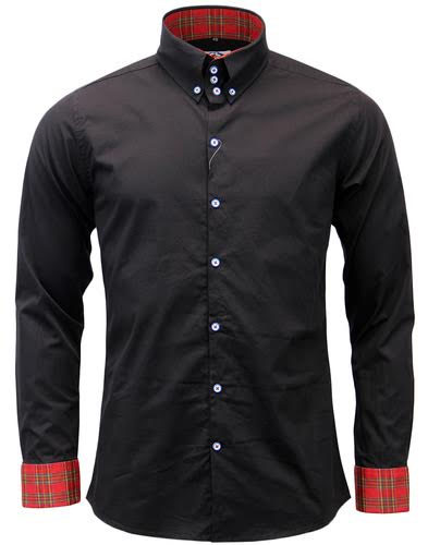 Whiskey Long Sleeve Mod Button Up High Collar Shirt by Madcap England - in black w/ tartan cuffs - SALE