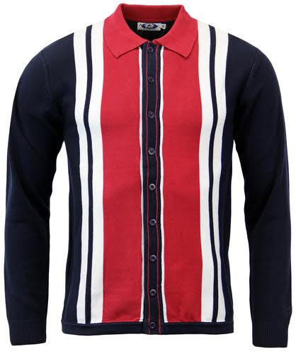 Donovan Retro Mod Long Sleeve Polo Sweater by Madcap England - in red & navy
