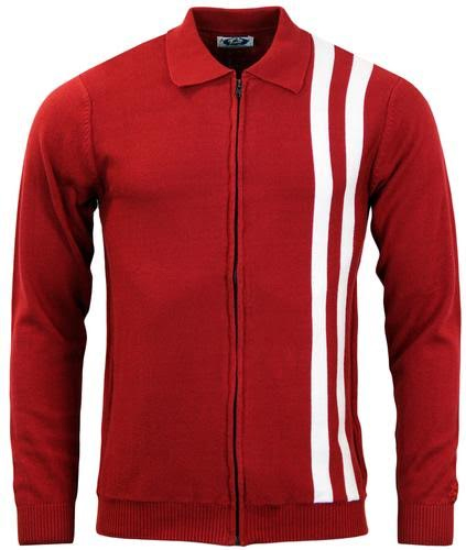 Speedway Zip Up Cardigan by Madcap England - in Red