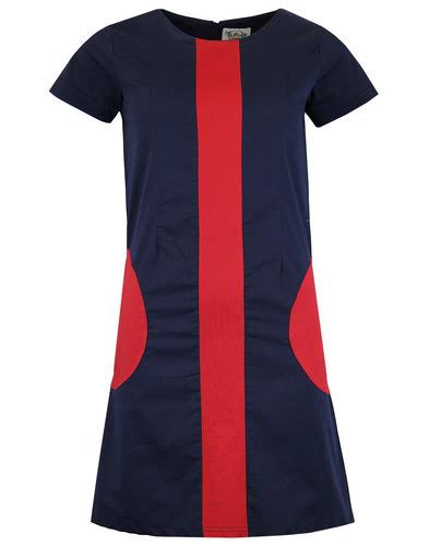Honey Mod Mini Dress by Madcap England - in Navy & Red